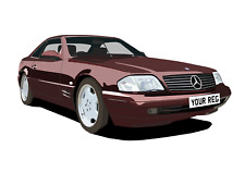 POSTER - MERCEDES R129 SL  - (A4, A3, A2) - CHOOSE REG & Colour PERSONALISE Car