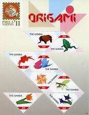 Gambie 2011 MNH Phila Nippon 11 Origami 8v MS oiseaux grenouille éléphant artisanat timbres