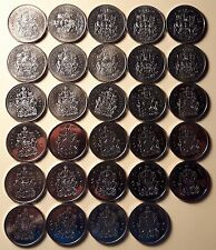 COMPLETE 1987-2014 Canada Half Dollar Collection 29 Nickel 50 Cent Coins