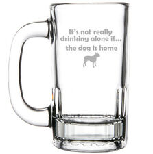 12oz Beer Mug Glass Funny Not Drinking Alone If The Dog Is Home Boston Terrier