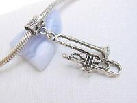 Cute 3D Silver Tone Trumpet Music Instrument Slide Dangle Charm fits Bracelets