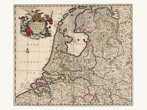 Old Antique Decorative Map of Netherlands de Wit ca. 1682