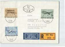 AUSTRIA 1968 3v AIRCRAFT ON REGD AIRMAIL FDC FROM WIEN TO CUXHAVEN IN GERMANY