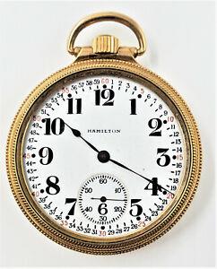 1928 Hamilton 974 Model 2 16s 17J Gold Filled Pocket Watch Parts/Repair W1