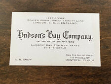 Vintage Hudson's Bay Company Business Card Montreal Canada Raw Fur Buying Store