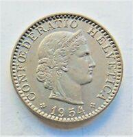 1954 B SWITZERLAND, copper nickel 10 Rappen, grading EXTRA FINE.