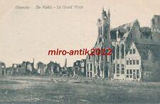 AK, Foto, Belgien, Flandern, Dixmude - zerstörte Gebäude am Markt, 1916; 5026-79