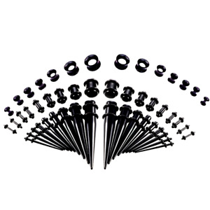 50Pcs Acrylic Ear Gauge Taper Tunnel Plug Expander Stretching Piercing Kit Sets
