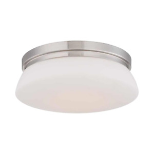 Hampton Bay LED Flush Mount 13 in. 120W Slope Ceiling Adaptable Dimmable Steel