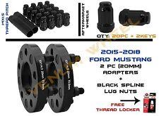 """2) 2015-2018 Mustang Wheel Spacers Adapters 5x4.5"""" 20mm+ Lug Nuts 14x1.5"""