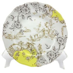 "Anthropologie Toile Print White Yellow Brown Salad Dessert Plate 7 1/2"""
