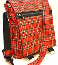 RED PLAID FABRIC CLASSIC  MESSENGER BAG   PUNK GOTHIC ROCKABILLY TEEN