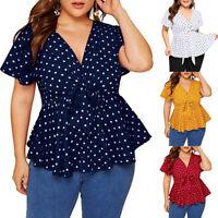 Women's Plus Size V Neck Short Sleeve Tee Shirt Top Polka Dot Knot Front Blouse