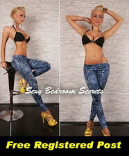 LEGGINGS Blue Leopard Design size O/S Aust 8-14