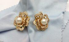 Elegant 14K Karat Solid Yellow Gold Clover Pearl & Diamond Earring's