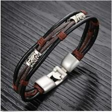Bracelet Wristband Men's Bangle Braided Stainless Steel Genuine Leather Cuff