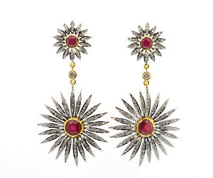2.50 Ct Natural Certified Diamond Ruby Dangle 925 Silver Earring set  SDE 18 D2