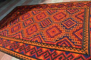 Beautiful Kohistani Natural Dye Flat Weave Qalaino Kilim Rug,Washable Area Size