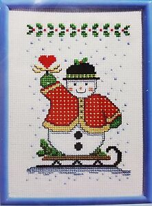 Counted Cross Stitch Kit Christmas Sledding Snowman 5x7 Frame Included New