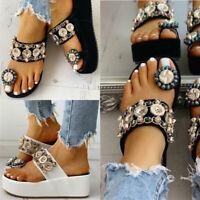 Flip Flops Summer Womens  Platform Wedge High Heels  Rhinestone   Shoes  Sandals