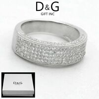 DG Men's 925 Sterling Silver CZ Eternity Iced-Out Ring 6 7 8,9,10,11*Unisex*Box