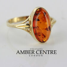 Italian Made 9ct Gold Baltic Amber Classic Elegant Ring -  GR0024  RRP £135!!!