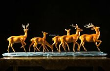 43'' top brass copper fine workmanship home decor auspicious animal seven deer
