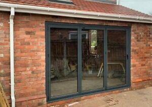 * New 2021 Range *Aluminium Bi fold Doors, Inc Glass * 2.4 x 2.1 * 3 panels