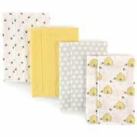 Hudson Baby Boy and Girl Flannel Burp Cloth, 4-Pack, Bumble Bees