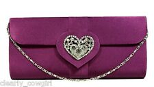 #8563 -- PURPLE CRYSTAL HEART CHARM CLUTCH EVENING BAG PURSE -LOVELY!