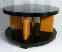 1 of 2 Brown Saltman Art Deco LACQUER Coffee/Side/Cocktail Table 1930s Restored