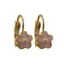 Light Pink Enamel Flowers Gold-Plated Kids Girls Leverback Pierced Earrings