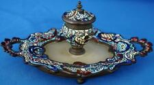 Antique Champlevé Cloisonne Desk Standish Inkwell