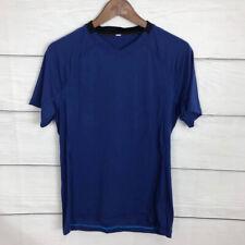 Lululemon Blue Technical T Shirt V Neck Size Xs Short Sleeve Nylon Blend