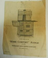 1925 Home Comfort Wrought Iron Range Company orig instruction Wood COOK STOVE