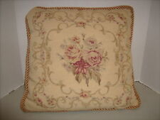 Vintage Yellow Floral Garland Rose Bouquet Needlepoint Petit Point Pillow 15""