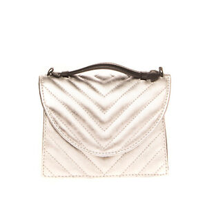 RRP €240 IMEMOI Leather Satchel Bag Metallic Quilted Push Lock Made in Italy