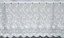 CAPRI WHITE VOILE WITH EMBROIDERED FLOWERS CAFE NET CURTAIN BY THE METRE