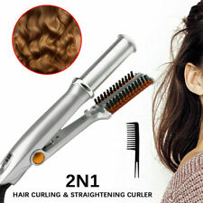 Professional 2-Way Rotating Curling Iron Hair Brush Curler Straightener Sliver