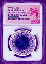 2016 Australia OPAL LUNAR Year of the MONKEY 1 oz Silver Proof Coin NGC PF70