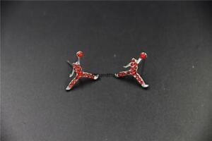 Michael Jordan Jumpman Logo Red CZ Stud Earrings In Gift Box