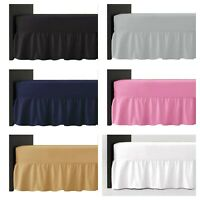 Plain Dyed Frilled Fitted Valance Sheet Easy Care Poly-Cotton Single Double King