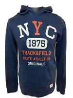 Jack & Jones Originals NYC 1975 Track & Field Blue Hoodie Pullover Sweater L VGC