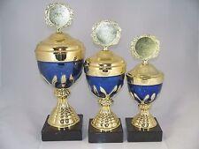 Pokal 3er Serie - inkl. Emblem & Schild mit Gravur - H 26 /29 /32 cm neu. Pokale