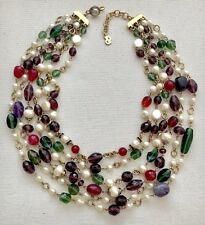 STUNNING VINTAGE CHRISTIAN DIOR CRYSTAL PEARL AND GRIPOIX GLASS TORSADE NECKLACE