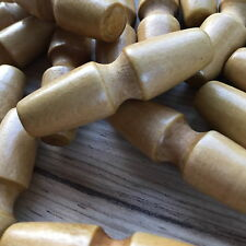 50 PACK X WOODEN TOGGLES / BUTTONS- GROOVED & LACQUERED. FREE UK P & P