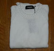 Dsquared2 Mens Slim Fit Made in Italy White Knitted Crewneck Sweater Medium