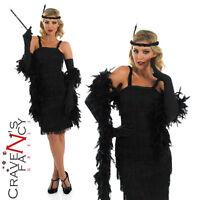 20's Black Flapper Ladies Fancy Dress Costume Gatsby Charleston Womens UK 8-30