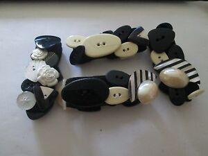 Handmade Napkin Holders Rings Set of 4 lack white antique buttons UNIQUE OOAK