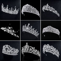 Wedding Bridal Tiaras Pearl Rhinestone Crystal Headband Wedding Veil Hair Crown
